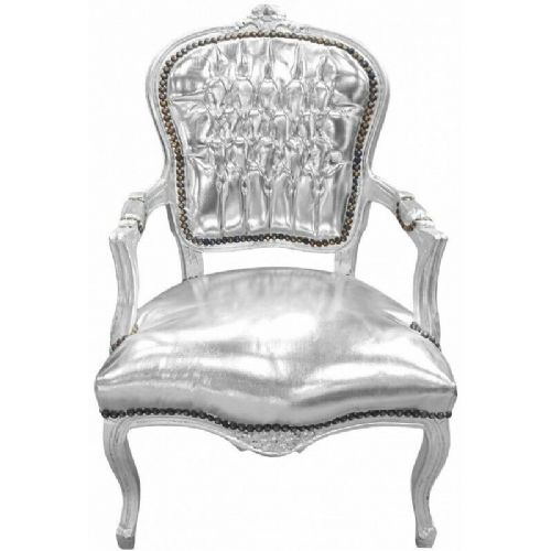 CHAIRS FRANCE BAROQUE STYLE LADY CHAIR WITH ARMRESTS SILVER #60F3
